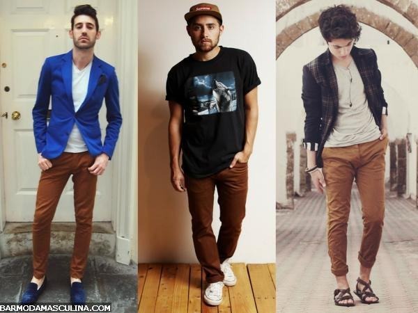 calça marrom combinação