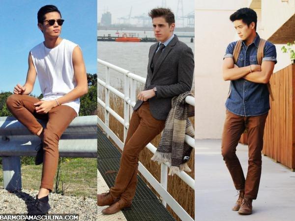 calça marrom masculina